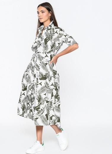 Loves You Yaprak Desenli Poplin Elbise Beyaz
